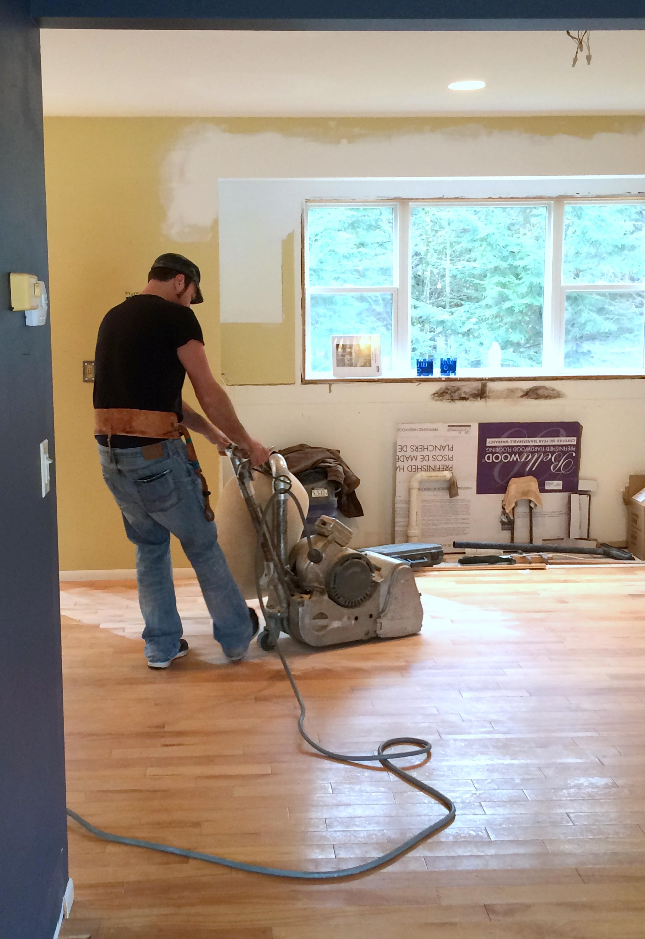 kitchen progress staining hardwood floors kitchen wood floors Kitchen Renovation Patch Repair and Stain the Hardwood Floors