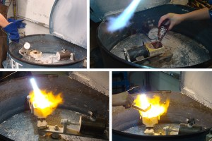 Melting metal in a centrifugal casting machine