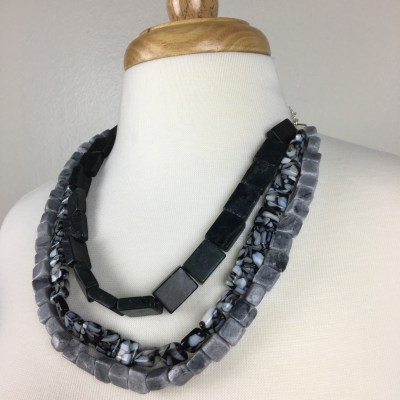 Black and grey 3-stranded necklace