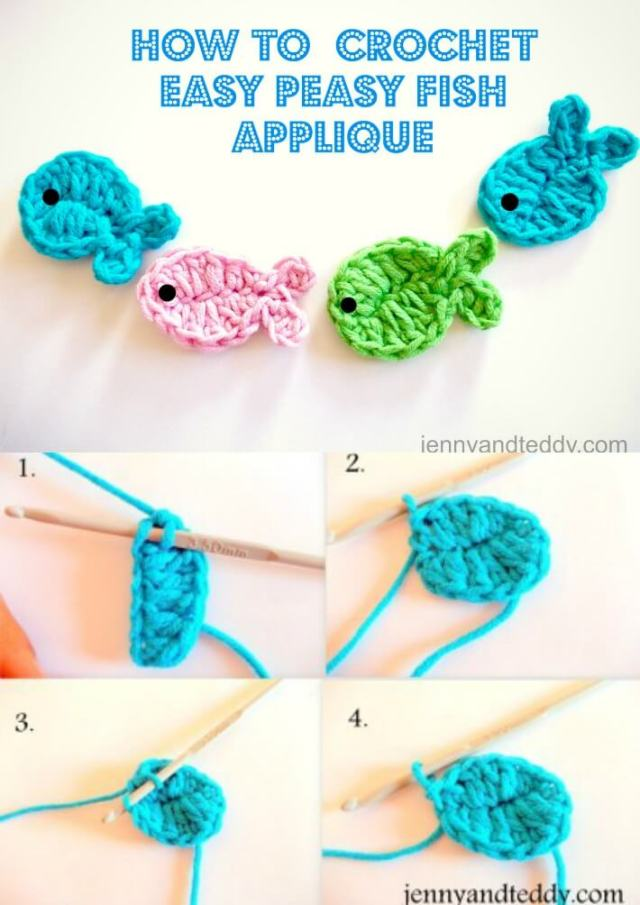 free crochet pattern fish applique by jennyandteddy