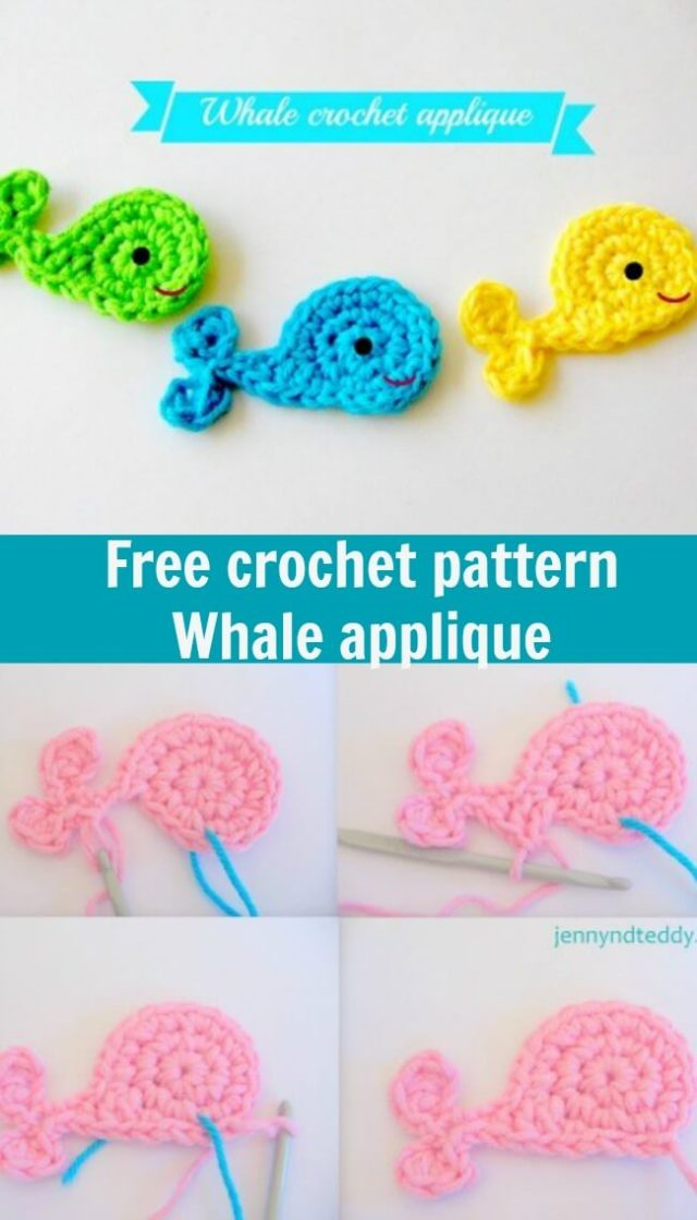 free crochet pattern whale applique
