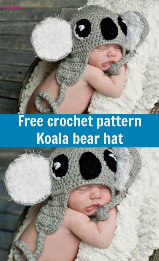 free crochet pattern Koala bear hat by jennyandteddy