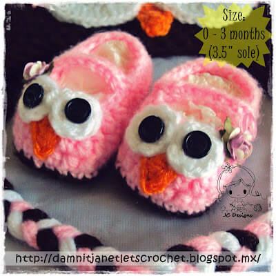 3.easy owls crochet baby booties free pattern