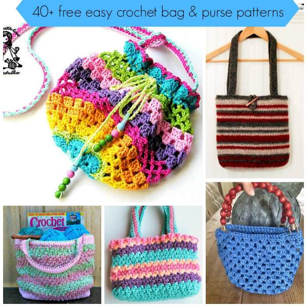 Crochet Bags And Purses Free Patterns : 40+free easy crochet bag and purse pattern tutorial
