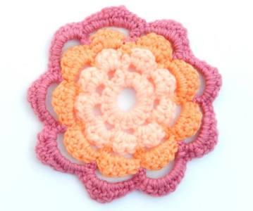 13. 9 petal summer mofit free crochet pattern