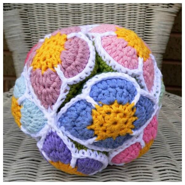 47.crochet flower ball beginner free tutorial