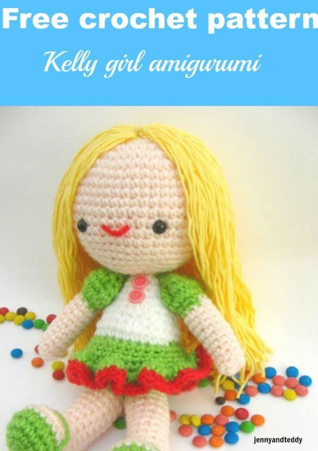 kelly girl crochet doll free amigurumi crochet pattern by jennyandteddy