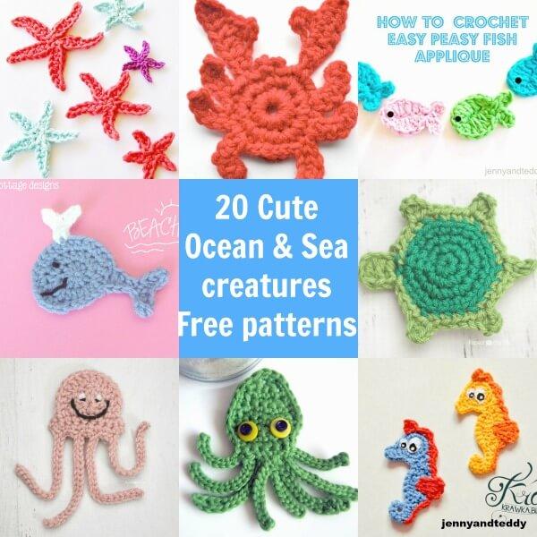 20 Cute Ocean And Sea Creatures Crochet Applique Free Pattern