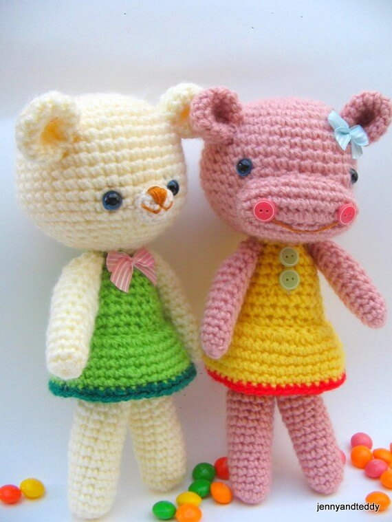 free amigurumi teddy bear and hippo crochet pattern