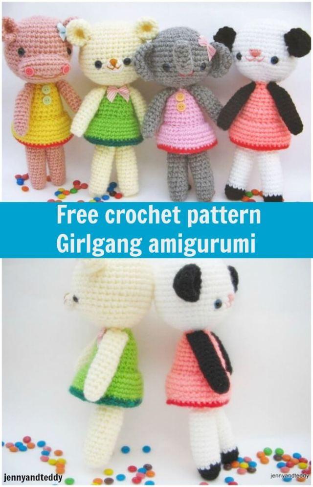 free crochet pattern girlgang amigurumi