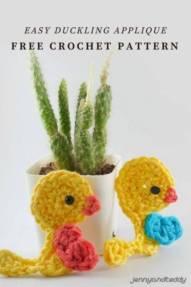 IMAGE 178 - EASY DUCKLING APPLIQUE FREE CROCHET PATTERN