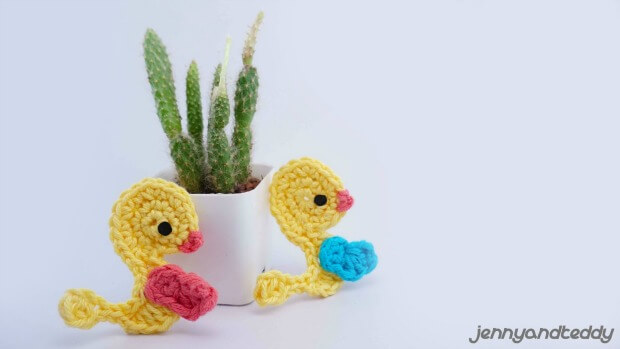 duckling applique free crochet pattern