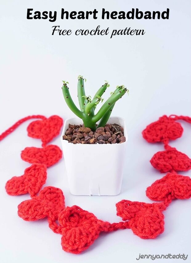 easy tiny small crochet heart headband free pattern by jennyandteddy