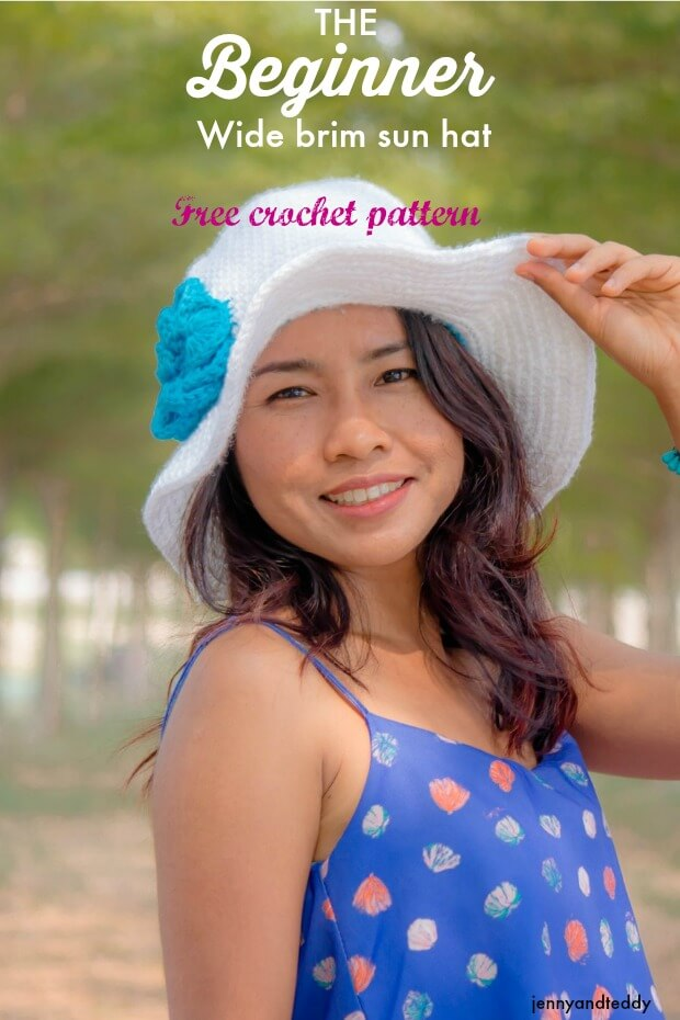 The beginner wide brim sun hat free crochet patterns by jennyandteddy