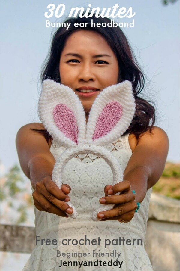 bunny ear crochet headband free pattern by jennyandteddy