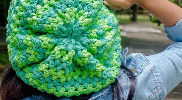 a puff easy stitch slouchy hat free crochet