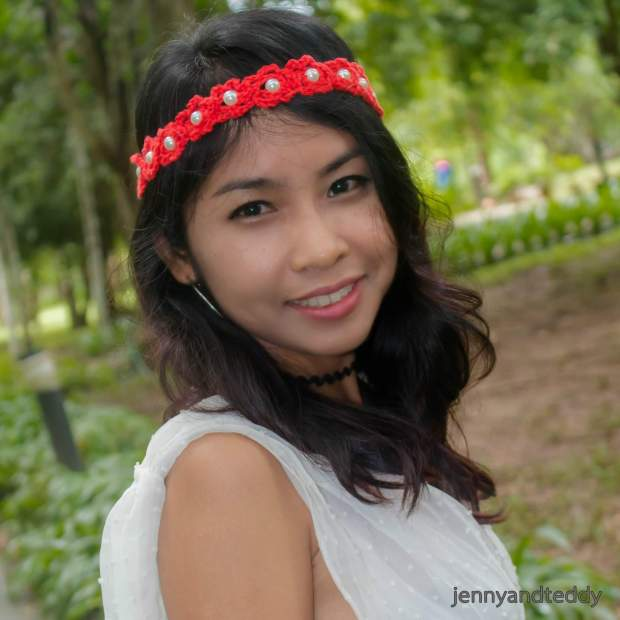 easy crochet beaded flowers headband for beginner tutorial
