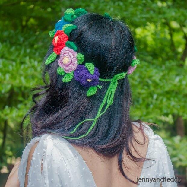 Crochet Flower Crown Tutorial : Flower crown free crochet pattern