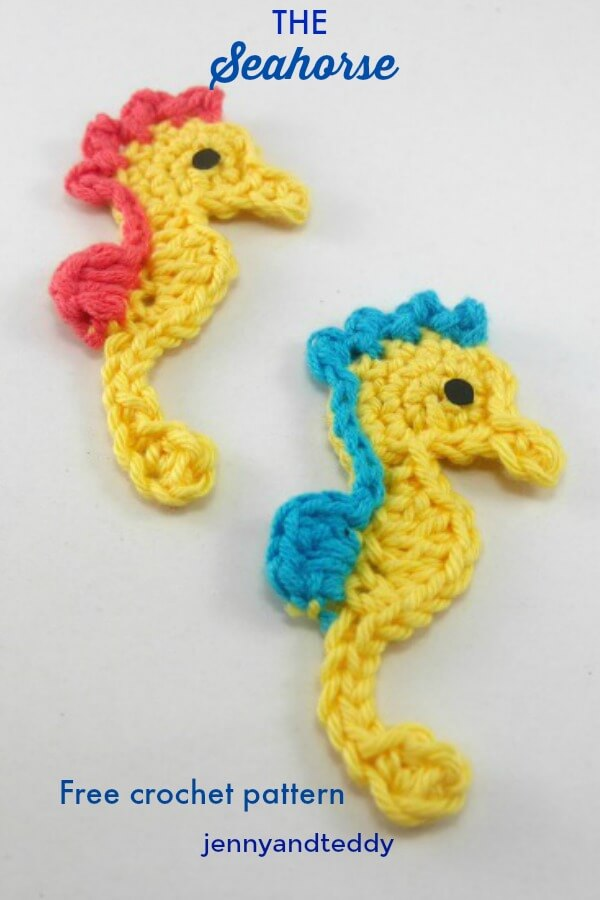 a seahorse free crochet pattern applique by jenyyandteddy