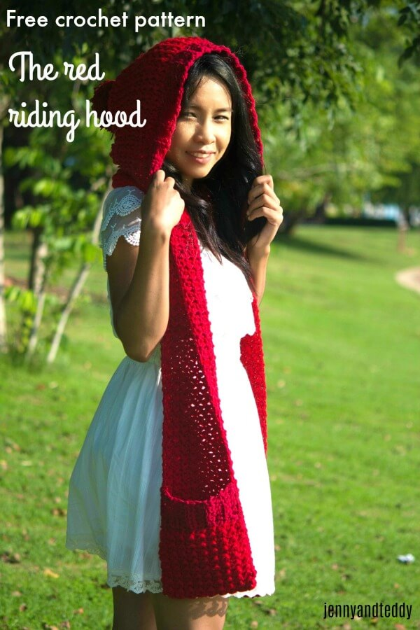12halloween custome crochet little red riding hood scarf with pocket easy free pattern