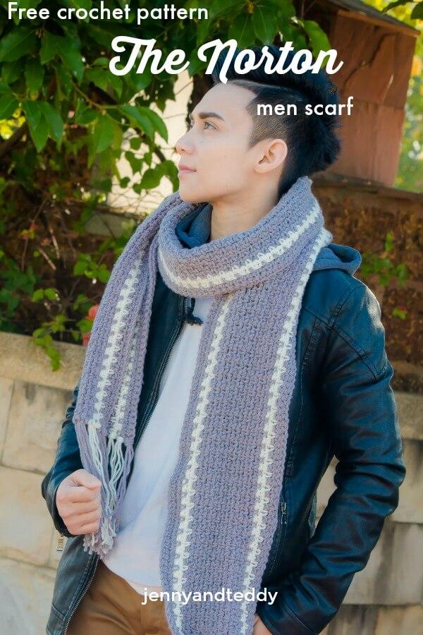 norton crochet men scarf free pattern beginner friendly