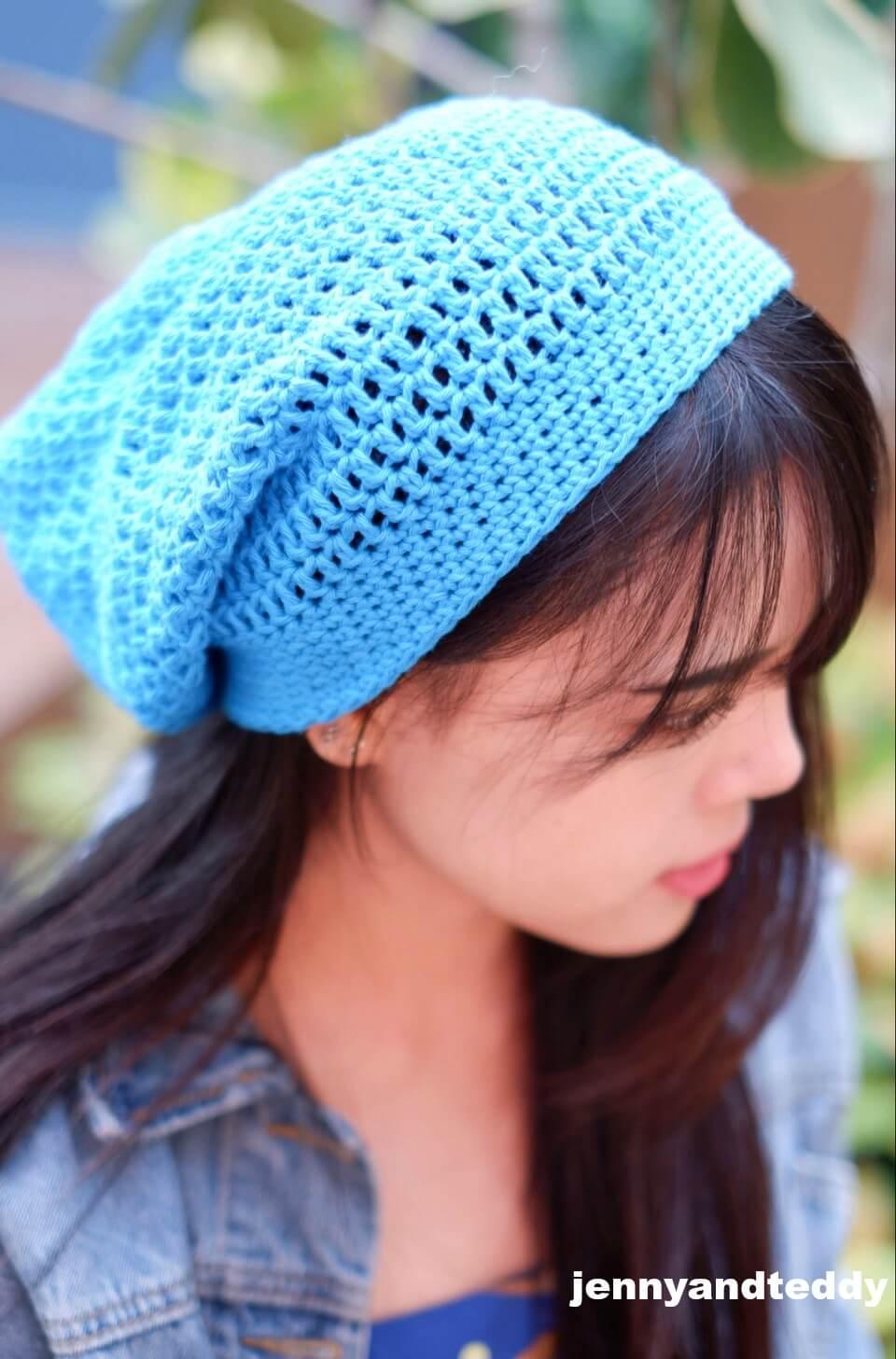simple double crochet slouch hat free pattern