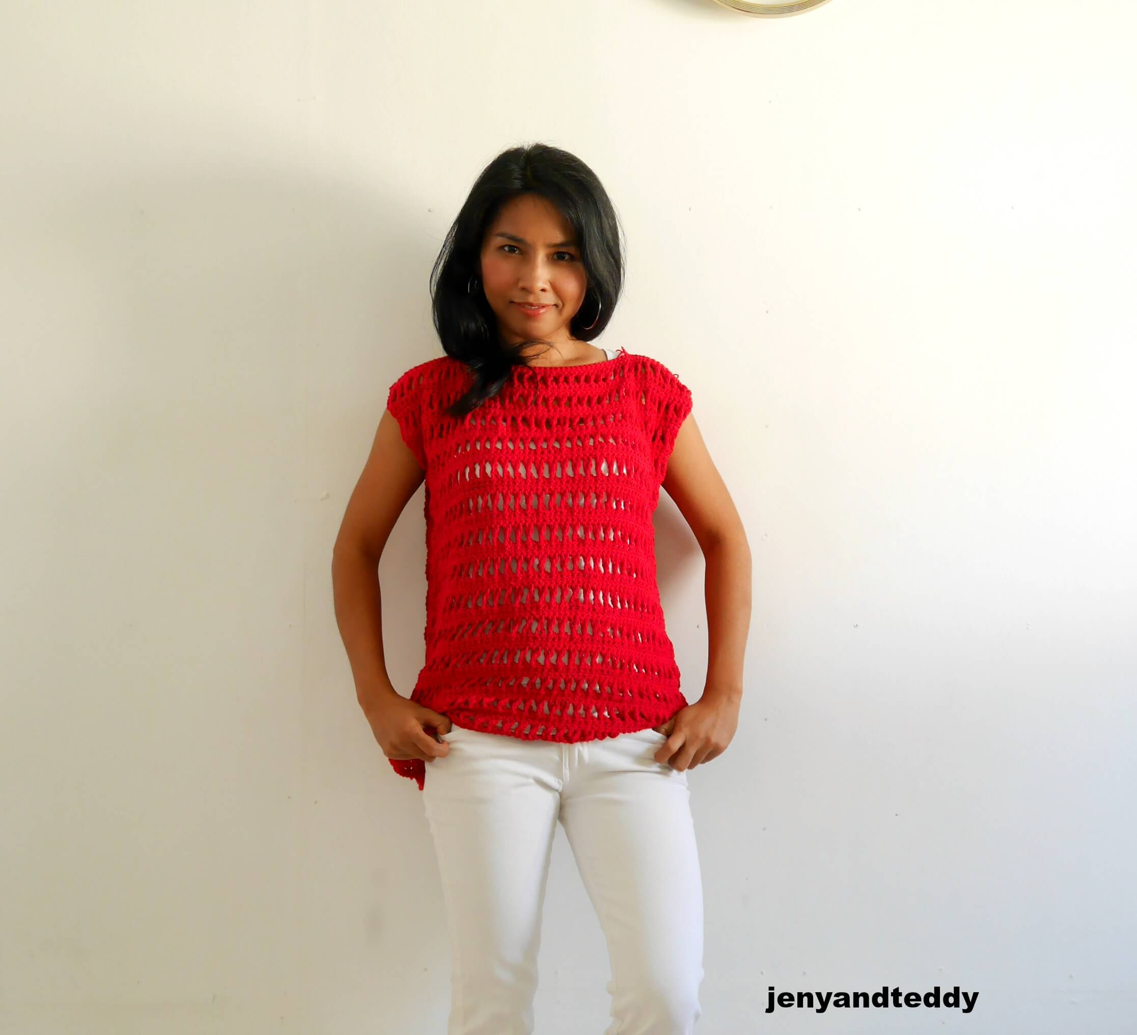 Peek a boo summer top free crochet pattern