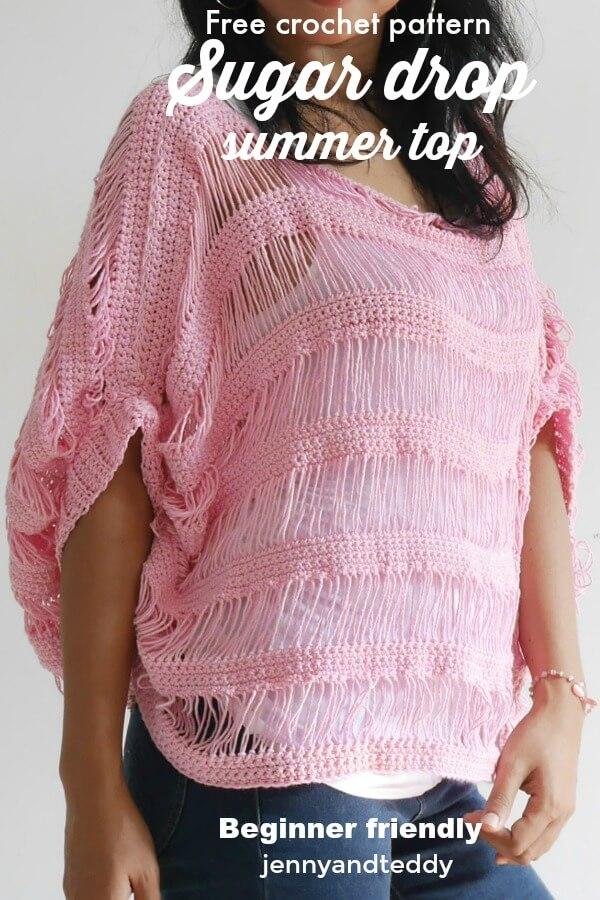 Sugar drop summer top free crochet pattern