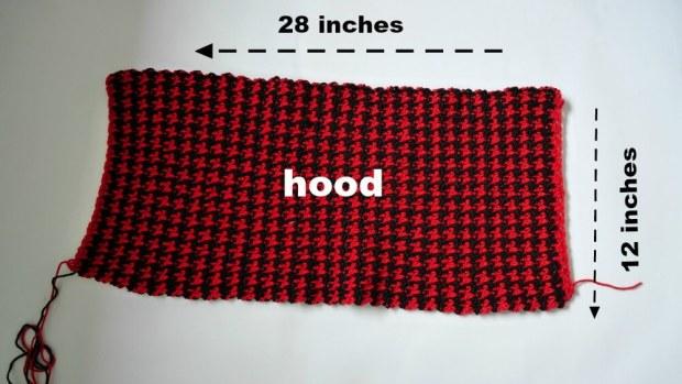 houndtooth crochet hood