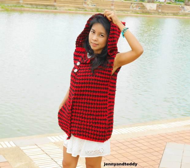 houndtooth crochet vest cardigan free pattern