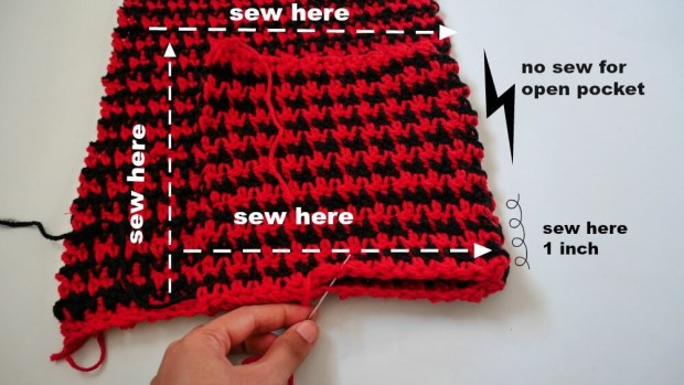 how to add pocket to crochet pieces