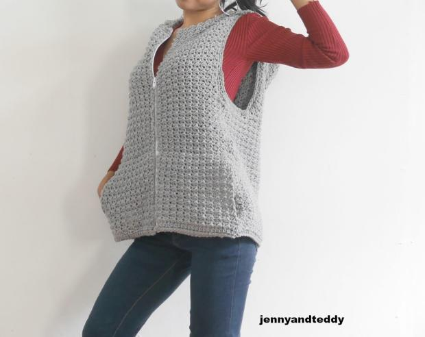 July hoodie vest jacket free crochet pattern