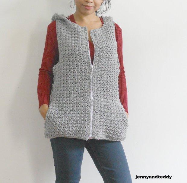happy july crochet hoodie vest jacket free pattern wth pocket