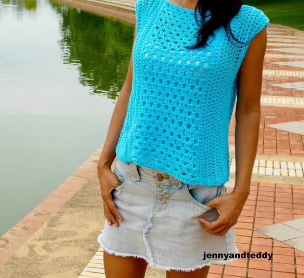 summer cotton top tee beginner friendly crochet