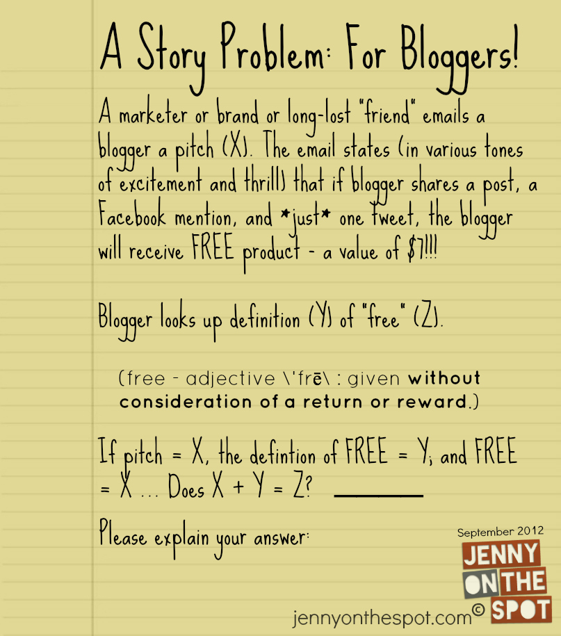 a story problem for bloggers