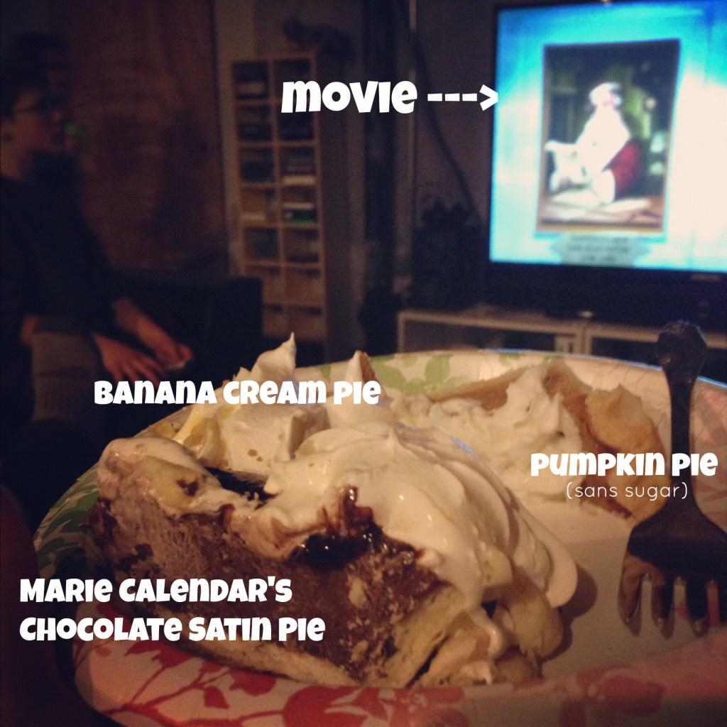 chocolate pie, pumpkin pie, banana pie via @jennyonthespot