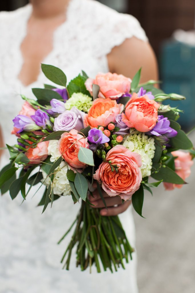 Coral & Purple Bouquet || flowers by Jen's Blossoms || photo by Kate Price Photography