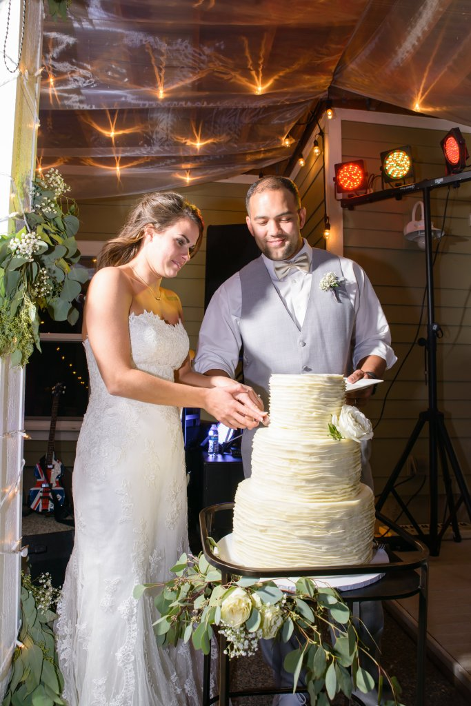 Cutting the Cake, Gig Harbor Waterfront Wedding