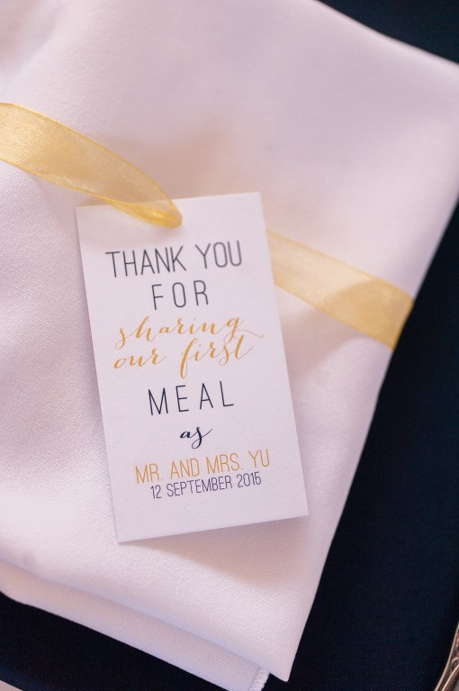 Union Station Wedding || Photo: Genesa Richards Photography ||Napkin Thank You Tag