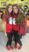 Freshman Sammy Lustberg (left) and sophomore Marissa Shapiro show their creativity by sporting complementary Thing 1 and Thing 2 costumes.