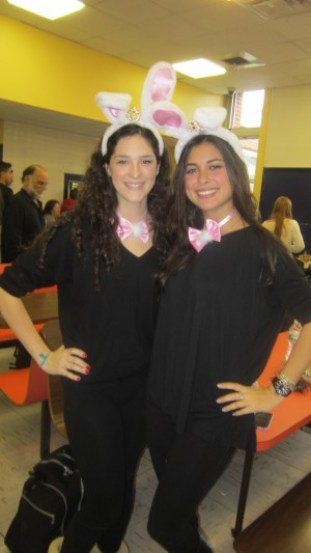"""Juniors Makaela Corrente (left) and Rachel Weissman pose in their matching bunny costumes. """"I loved being able to dress up as my favorite animal, especially with one of my best friends,"""" said Corrente."""