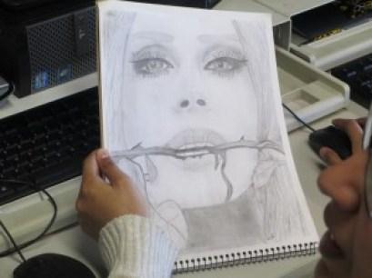 Drawn by Sumayyah Siddiqui, 12th grade.