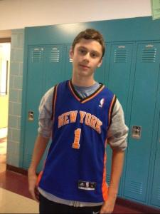 Ninth grader Liam Garbus sports his Amare Stoudemire jersey