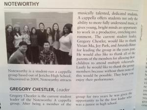 Noteworthy featured in the playbill for the event.