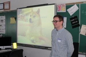 "Professor Applegate shares with students the ""doge"" meme now being used by healthcare.gov."