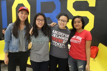 """I didn't really care about Decision Day. I wore my shirt because my friends told me to,"" said future Queens College freshman Grace Kim (second from the right)."