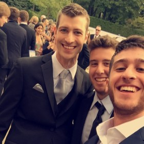 Very newly married, Mr. Anderle, pauses for a moment with his students Ryan F. and Nico D. to take a selfie.