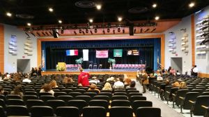 The auditorium was decorated and parents were ready for the induction ceremony. to begin before the power outage occurred.