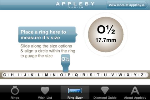 Appleby App ring sizer