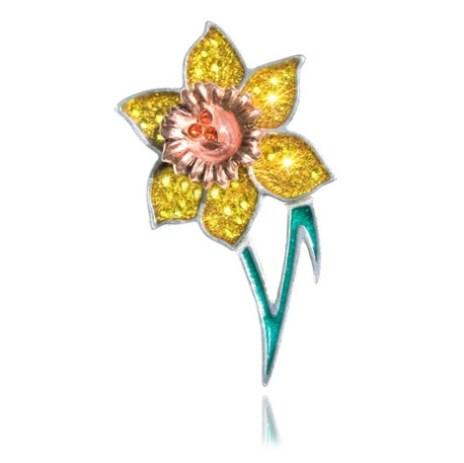 Daffodil Brooch with Swarovski crystal elements